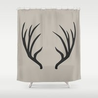 antlers Shower Curtains featuring antlers by Amanda Nicole