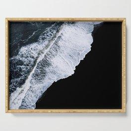 Waves crashing on a black sand beach – minimalist Landscape Photography Serving Tray