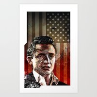 johnny cash Art Prints featuring Johnny Cash by michael pfister