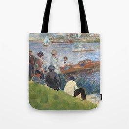 Renoir meets Seurat at the river Tote Bag