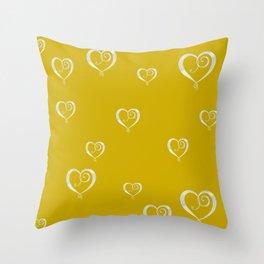 Polka Heart Party, Gold Throw Pillow