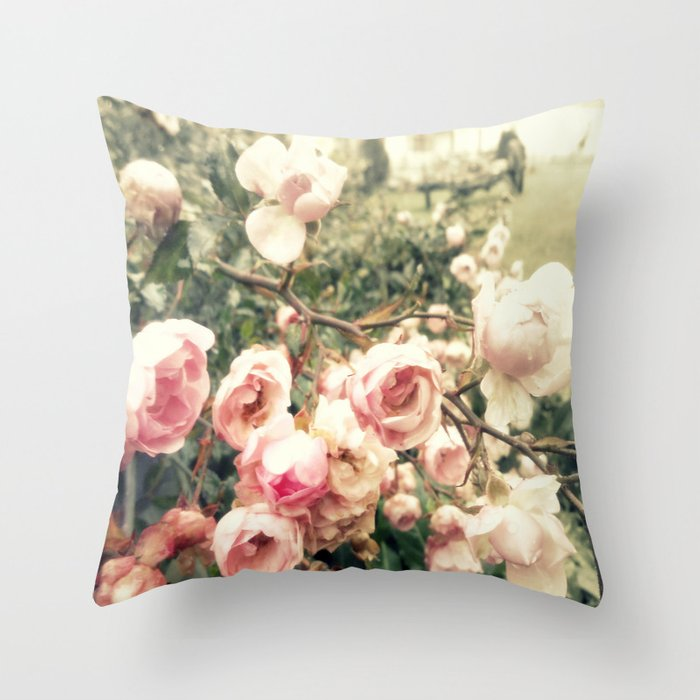 vague memory and roses Throw Pillow
