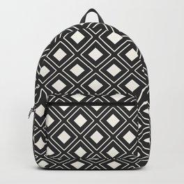 White Diamond Geometric Patterns Backpack
