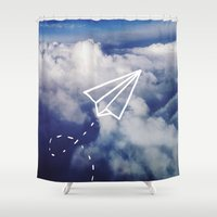 plane Shower Curtains featuring Paper Plane by Leah Flores