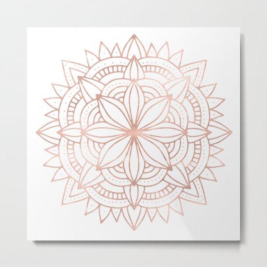 Mandala Rose Gold Pink Shine Metal Print