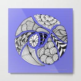 Zentangle Design - Black, White and Purple Illustration Metal Print