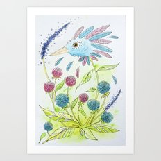 Flower-bird Art Print