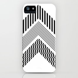 Geometric - Arrows, Black & White Striped iPhone Case
