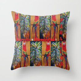 Parrots and Pineapples Throw Pillow