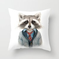 raccoon Throw Pillows featuring Raccoon by Leslie Evans