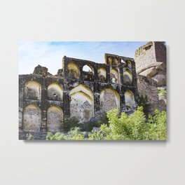 Golconda Fort Ruins with Traditional Indian Architecture and Design in Hyderabad, India Metal Print