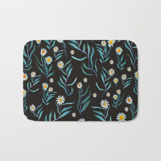 white flowers Bath Mat
