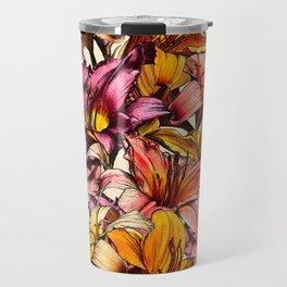 Daylily Drama - a floral illustration pattern Travel Mug
