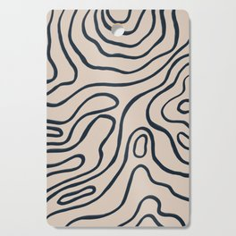 Topographic Map / Nude & Dark Blue Cutting Board