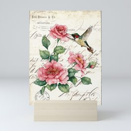 Vintage Roses Hummingbird Art Quote Mini Art Print