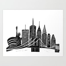 Linocut New York Art Print