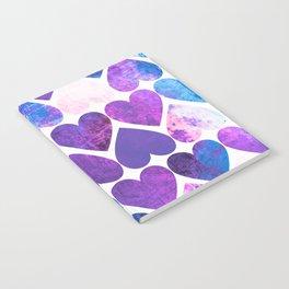 Mod Purple & Blue Grungy Hearts Design Notebook