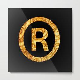 """R"" Golden decorative letter Metal Print"