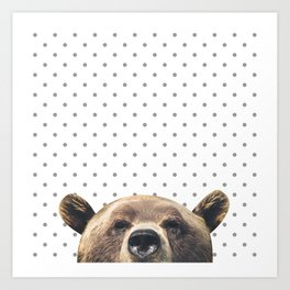 Bear - Gray Dots Art Print