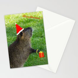 just for fun - a nutria santa ??? Stationery Cards