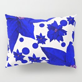 Poinsettia Blue Indigo Pattern Pillow Sham