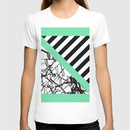 Stripes N Marble - Black and white geometric stripes and marble pattern, bold on green background T-shirt