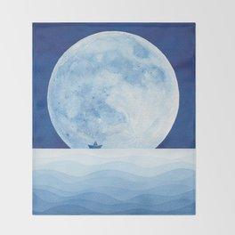 Full moon & paper boat Throw Blanket