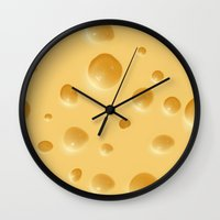 cheese Wall Clocks featuring cheese by rchaem