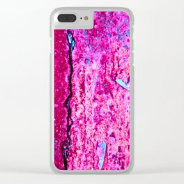 Neon Pink Road Clear iPhone Case