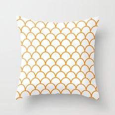 Orange Scallops Throw Pillow