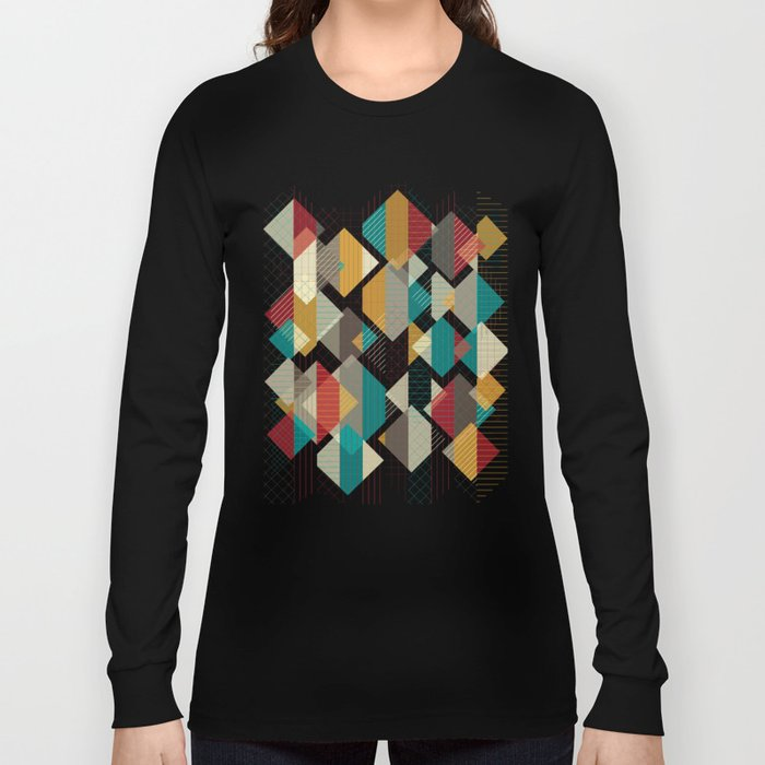 Geometric Geek Pattern - Squares, Stripes, Grids Long Sleeve T-shirt