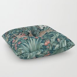 William Morris Forest Rabbits and Foxglove Greenery Floor Pillow