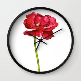 Ink Poppy Painting (Original Artwork) Wall Clock
