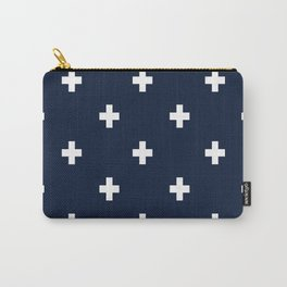 Cross Geometric Modern Navy White Carry-All Pouch