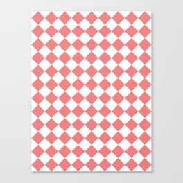 Diamonds - White and Coral Pink Canvas Print