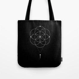 Seed Of Life Geometry Black Tote Bag