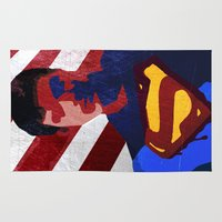superman Area & Throw Rugs featuring Superman by Scar Design