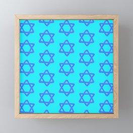 Hanukkah Sacred Star Of David Pattern Framed Mini Art Print