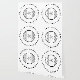 O - decorative monogram. Wallpaper