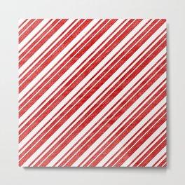 Velvety Red Candy Cane Diagonal Christmas Stripe Metal Print