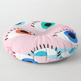 Noob - eyes memphis retro throwback 1980s 80s style neon art print pop art retro vintage minimal Floor Pillow