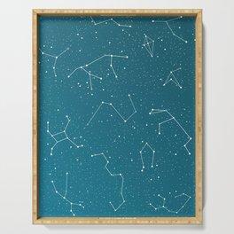 Starlight night constellations Serving Tray