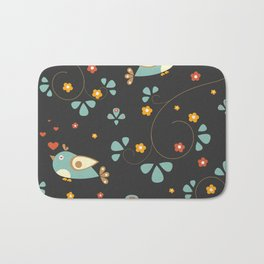 Bird Seamless Pattern. Bullfinch birds  Bath Mat