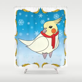 Holiday Cockatiel Shower Curtain