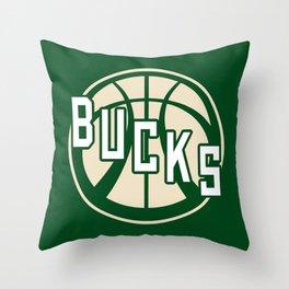 Bucks basketball vintage green logo Throw Pillow