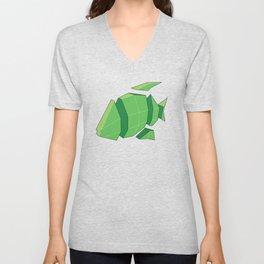Illustration of a 3D Paper Craft Fish Model Unisex V-Neck