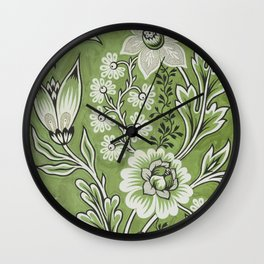 Antique Floral Drawing in Green Wall Clock