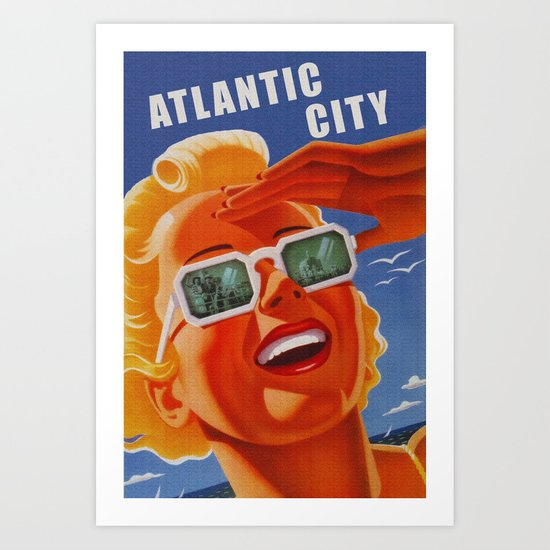 Vintage Atlantic City NJ Travel Art Print