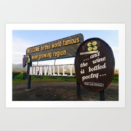 Welcome Sign to Napa Valley, Calistoga, California Art Print