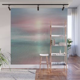 """Pink sky over blue sea Sunset"" Wall Mural"